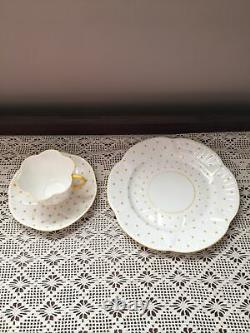Shelley Dainty Dot Yellow Trio Cup Saucer Plate Set Fine Bone China Perfect