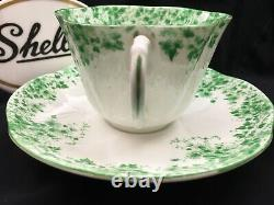Shelley Dainty Green Daisy 053 Cup And Saucer Green Trim