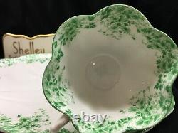Shelley Dainty Green Daisy 053/a Cup And Saucer Green Trim