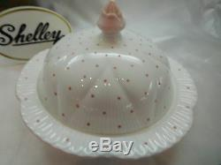 Shelley Dainty Pink Polka Dots #13748/d Covered Butter / Muffin Dish