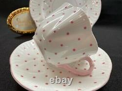 Shelley Dainty Pink Polka Dots Cup, Saucer And 6 1/2 Plate # 13748/p