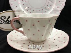 Shelley Dainty Pink Polka Dots Cup, Saucer And 8 Plate # 13748/p