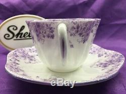 Shelley Dainty Purple Daisy 051/35 Cup And Saucer Purple Trim Very Rare