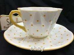 Shelley Dainty Yellow Polka Dots Cup And Saucer Wow
