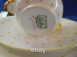 Shelley Dainty Yellow Polka Dots Trio Cup, Saucer And 8 Plate Wow