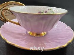 Shelley Footed Oleander Violets Cup And Saucer Mauve Trim # 13830 Wow