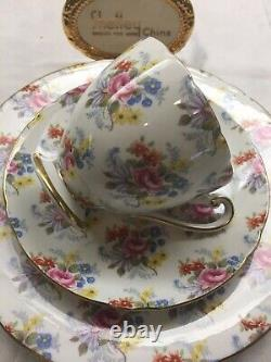Shelley Georigan Chintz Ripon Shape Footed Cup, Saucer & Plate 14273 Gold Trim