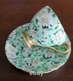 Shelley Green Daisy Chintz RIPON SHAPE Teacup and Sauce #13384 GOLD TRIM
