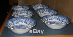 Six Royal Warwick Lochs Of Scotland Cereal Bowls Loch Katrine England Blue White