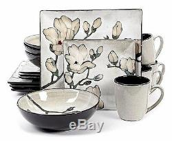 Square Dinnerware Set Casual Kitchen Everyday Floral Flowers Plates Bowls S