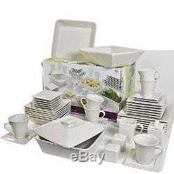 Square Dinnerware Set Plates Dining Dishes Cream White Banquet 45 Pc Cups Dishes