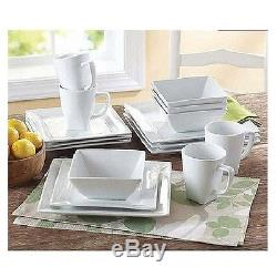 Square White Dinner Dishes Plates 32 Piece Porcelain Dinnerware Kitchen Set New