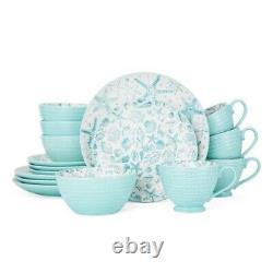 Starfish & Sea Shell Dinnerware Set Kitchen Dinner Plates White Turquoise Dishes