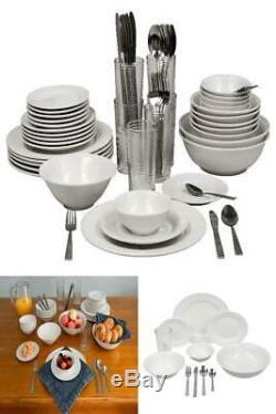 Stoneware Dinnerware Set 62 Piece Service for 6 Round Serving Kitchen Dishes