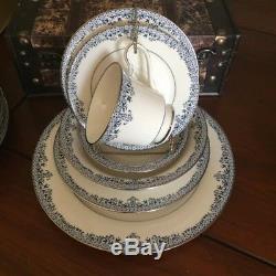 Stunning 42 pc Blue & White Noritake Ivory China Charleston pattern Dinnerware