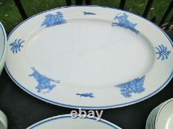 TATUNG China Dinnerware Set Blue & White MAN HUNTING Bowl Plate Spoon 47pc EUC