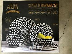 Thyme And Table White Black Check Pattern Stoneware Dinnerware Set 12 Pcs DISHES