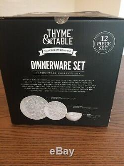 Thyme And Table White Black Spotted Dot Pattern Stoneware Dinnerware Set 12 Pcs