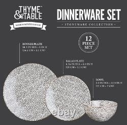Thyme & Table Dinnerware Black & White Dot Stoneware 12 Pcs Set Dishwasher Safe