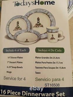 Today's Home 16 Pc Lighthouse Dinnerware Dish Set matches totally today NIOB
