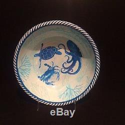 Tommy Bahama Melamine Sea Life Crab Octopus Dinnerware 12 Pc Set + Free Platter