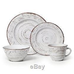 Trellis White Dinnerware Set For 4 Stoneware 16 Pc Dinner Plates Dishes Rustic