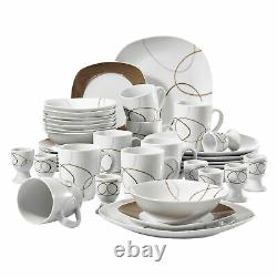 VEWEET 40-Piece Dinnerware Set Plates Mugs Bowls Egg Stands Set Dishes Porcelain