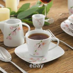 VEWEET ANNIE Porcelain Dinnerware Set Floral Pattern Square Dinner Service Sets
