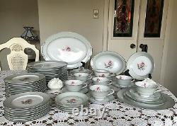 VINTAGE-HALSEY- Pattern DAMASK ROSE 402-JAPAN-Dinnerware Set-56 Pieces-CLASSY