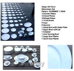 VINTAGE Sango 68-Piece Bone China Dinnerware Set FLORENCE #3646 JAPAN