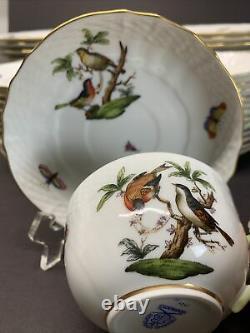 VTG Herend Hungary Rothschild Bird Dinnerware Set 60 Pcs, Service For 12 Rare