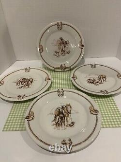 VTG TOTALLY TODAY Western Cowboy & Horse Dinnerware 12 Pieces Service for 4