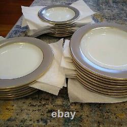 VTG set of 51 Pyrex Dinnerware Dove Gray Gold Trim plates bowls cups creamer EUC