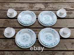 Veronica 16 Piece Dinnerware Vintage Arcopal France J. G. Durand Forget Me Nots