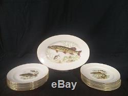 Vintage 12 Naaman, Israel 9.25 Fish Plates & 1 Fish Platter, 1950's