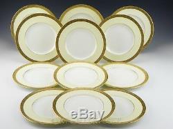 Vintage Cauldon England #7479 IVORY & WHITE GOLD ENCRUSTED SALAD PLATES Set 12