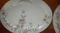 Vintage China Dinnerware Set by THUN pink purple white flowers Bohemia 75 pcs