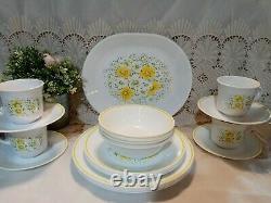 Vintage Corelle APRIL dinnerware Set Yellow flowers platter plate bowl mug 21pc