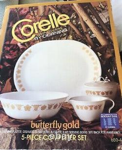 Vintage Corelle Butterfly Gold 20-piece Dinnerware + Rare Completer Set Unused