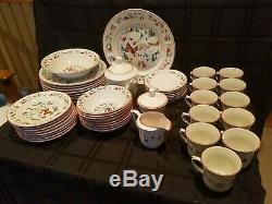 Vintage Farberware White Christmas Dinnerware China 391 50 Pc Service for 8