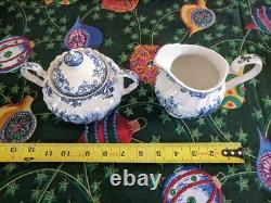 Vintage Johnson Brothers Coaching Scenes Blue White China Dinner Ware 64 Pieces