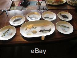 Vintage KAHLA 7 Piece Porcelain Fish Set, 6 Lunch Plates & Oval Platter 1950's