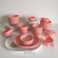 Vintage MID Century Pink & White Rose Melmac Dinnerware Set Of 52 Pieces