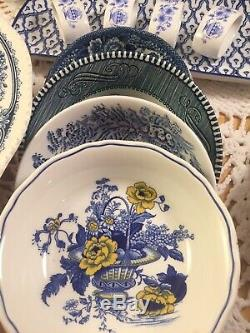 Vintage Mismatched China Transferware 34 piece Dinnerware Set Blue and White # 3