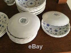 Vintage Myott Finlandia / Churchill Blue White Dinnerware lot of 53 pieces