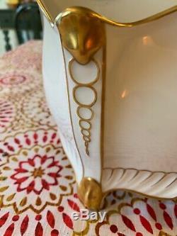 Vintage Porcelain Handpainted White Gold Linen Napkin Letter Holder Portugal