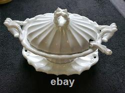 Vintage RED CLIFF Ironstone Soup Tureen VICTORIAN Pattern Underplate Ladle MCM