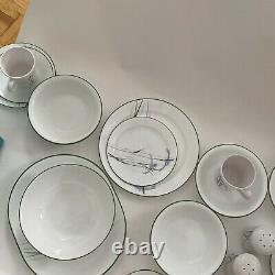 Vintage Set of 34 Corelle Shadow Iris Dinnerware Plates 10.25 Cups bowls salt