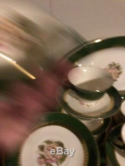 Vintage Stetson 22kt Gold Forest Green China Dinnerware Set Rare Christmas