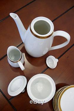 Vintage Verbano Industria Argentina Porcelain Coffee Set 19 Pieces Gold Trim